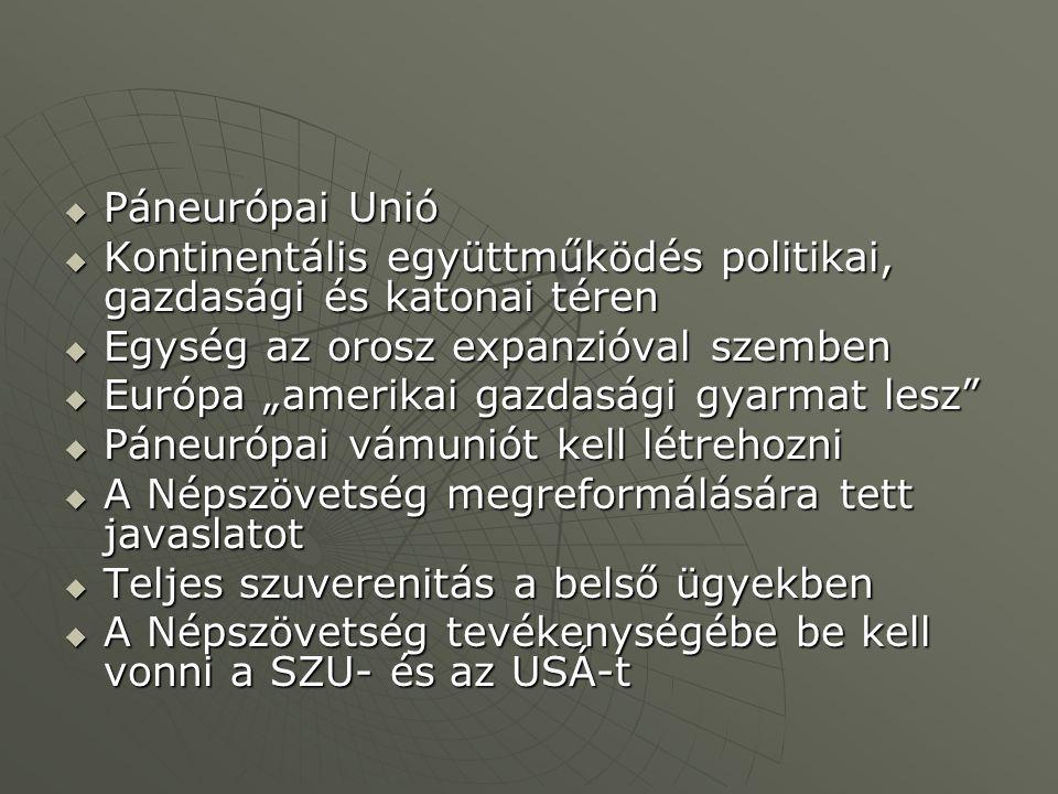 Páneurópai Unió Kontinentális együttműködés politikai, gazdasági és katonai téren. Egység az orosz expanzióval szemben.