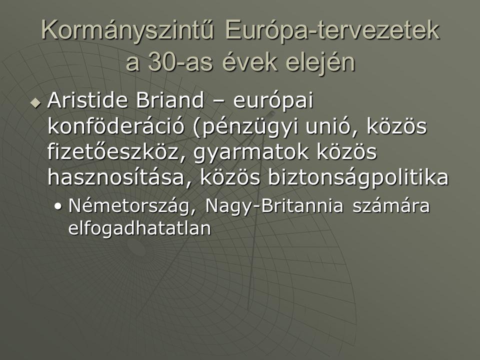 Kormányszintű Európa-tervezetek a 30-as évek elején