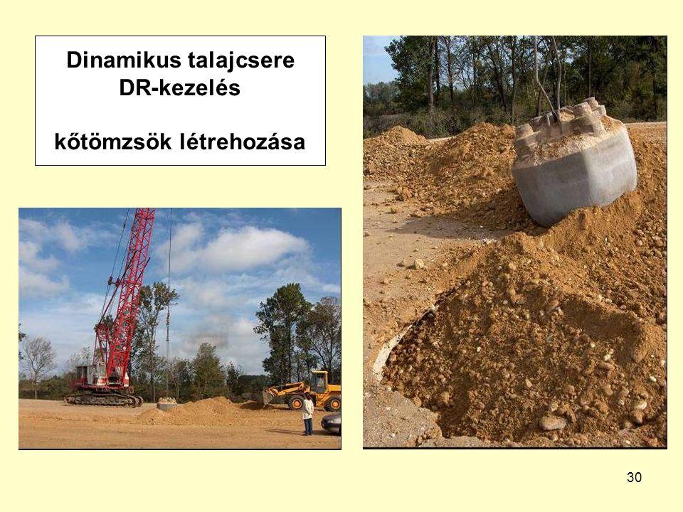 Dinamikus talajcsere DR-kezelés kőtömzsök létrehozása