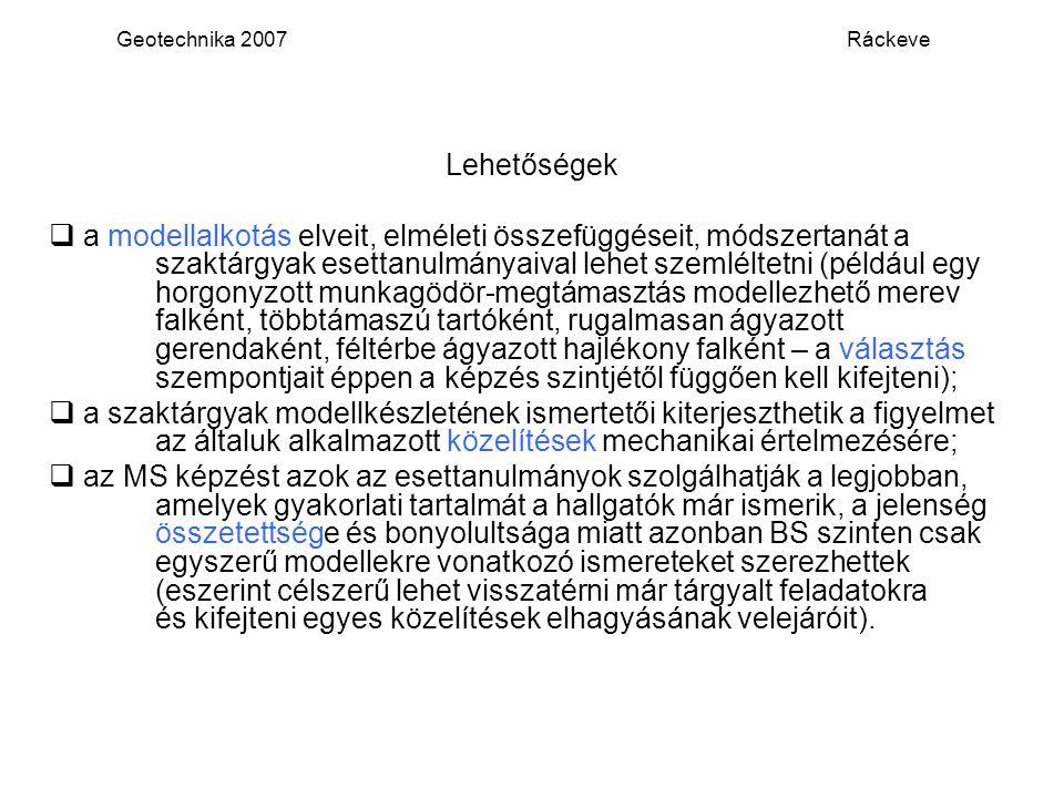 Geotechnika 2007 Ráckeve Lehetőségek.