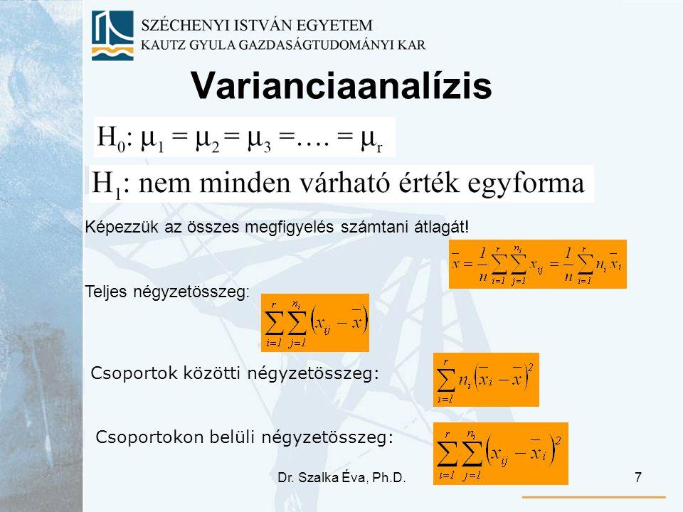 Varianciaanalízis Képezzük az összes megfigyelés számtani átlagát!