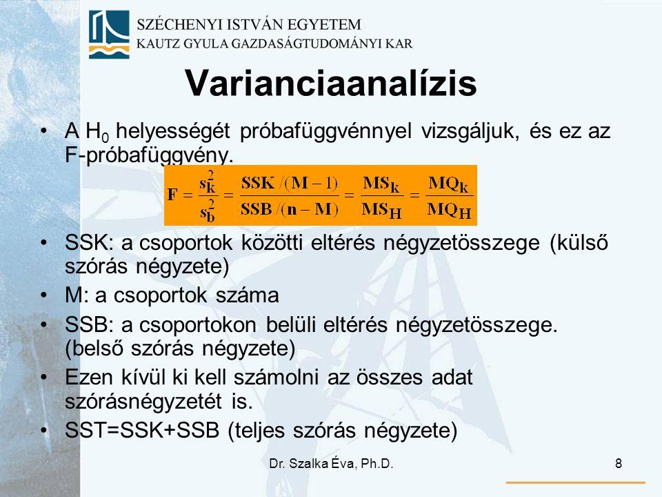 Varianciaanalízis A H0 helyességét próbafüggvénnyel vizsgáljuk, és ez az F-próbafüggvény.