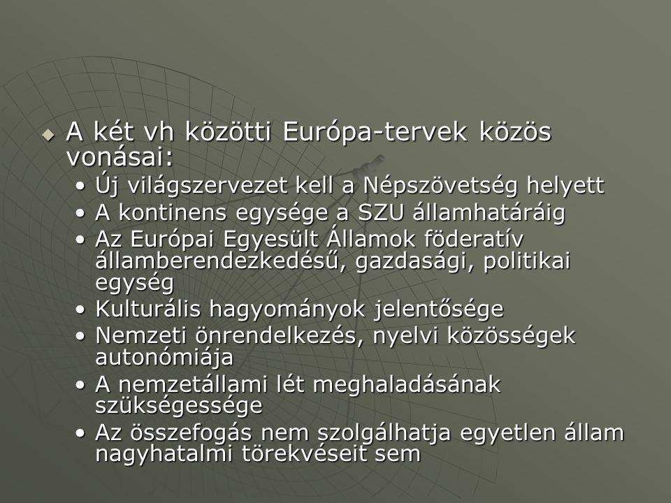 A két vh közötti Európa-tervek közös vonásai: