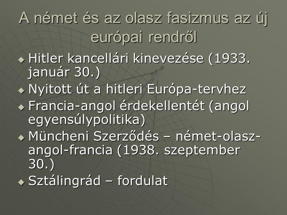 A német és az olasz fasizmus az új európai rendről