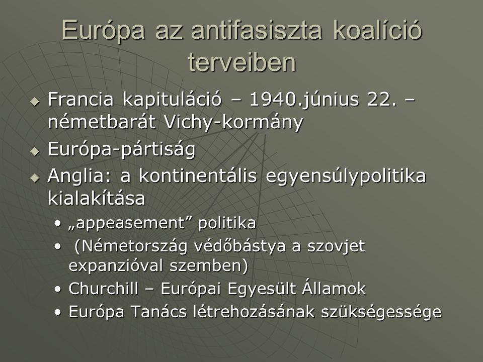 Európa az antifasiszta koalíció terveiben