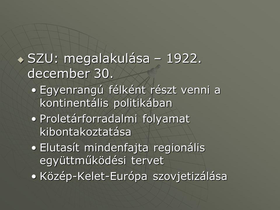 SZU: megalakulása – 1922. december 30.
