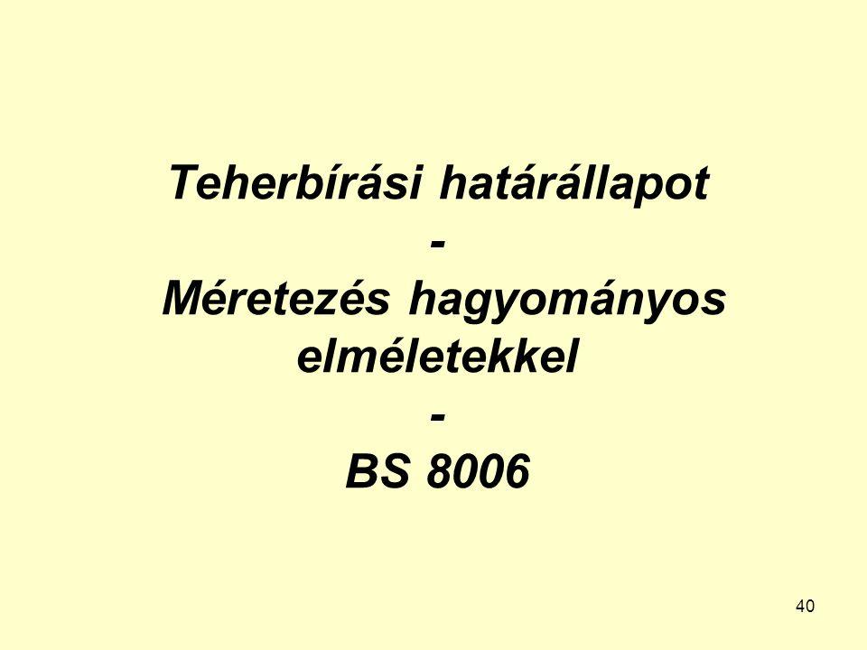 Teherbírási határállapot - Méretezés hagyományos elméletekkel - BS 8006