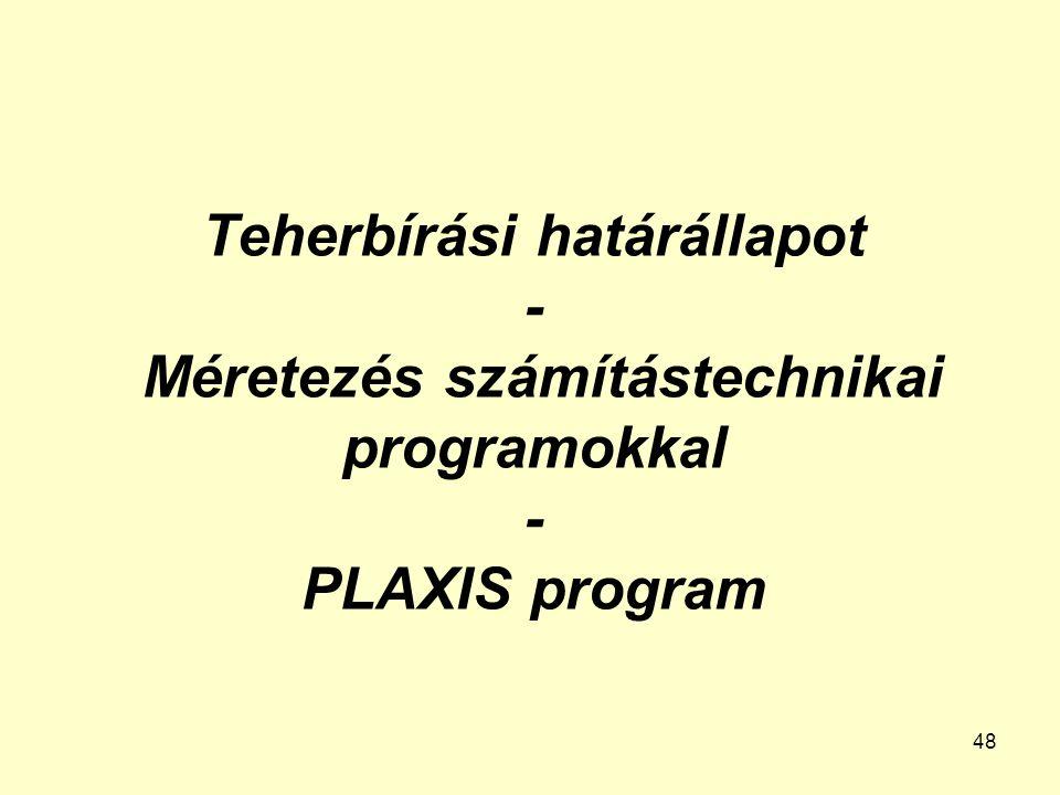 Teherbírási határállapot - Méretezés számítástechnikai programokkal - PLAXIS program