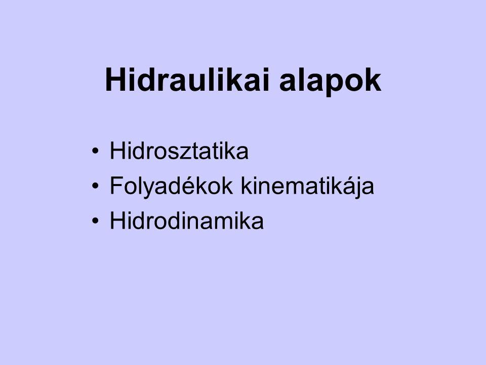 Hidraulikai alapok Hidrosztatika Folyadékok kinematikája Hidrodinamika