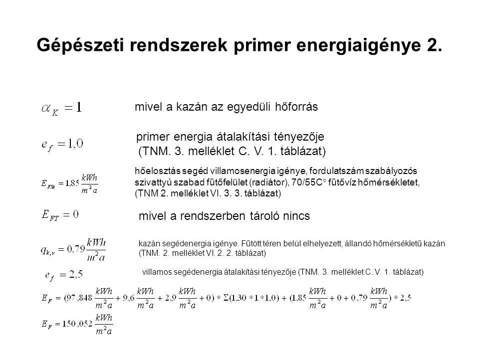 Gépészeti rendszerek primer energiaigénye 2.