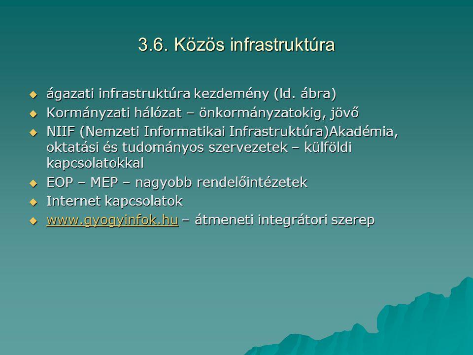 3.6. Közös infrastruktúra ágazati infrastruktúra kezdemény (ld. ábra)