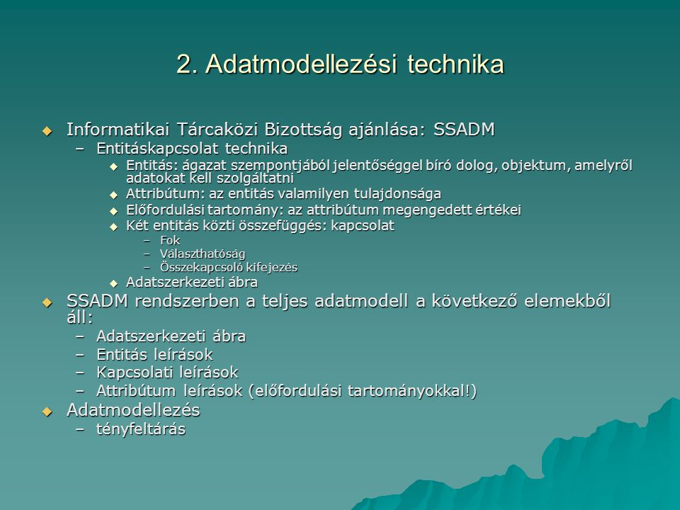 2. Adatmodellezési technika