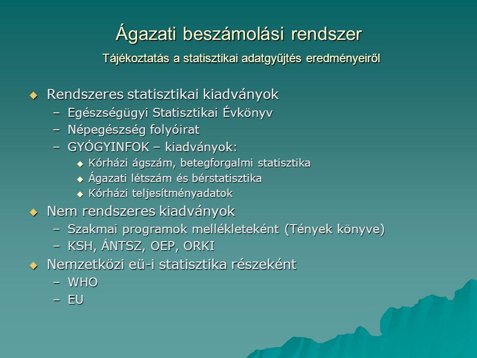 Ágazati beszámolási rendszer Tájékoztatás a statisztikai adatgyűjtés eredményeiről