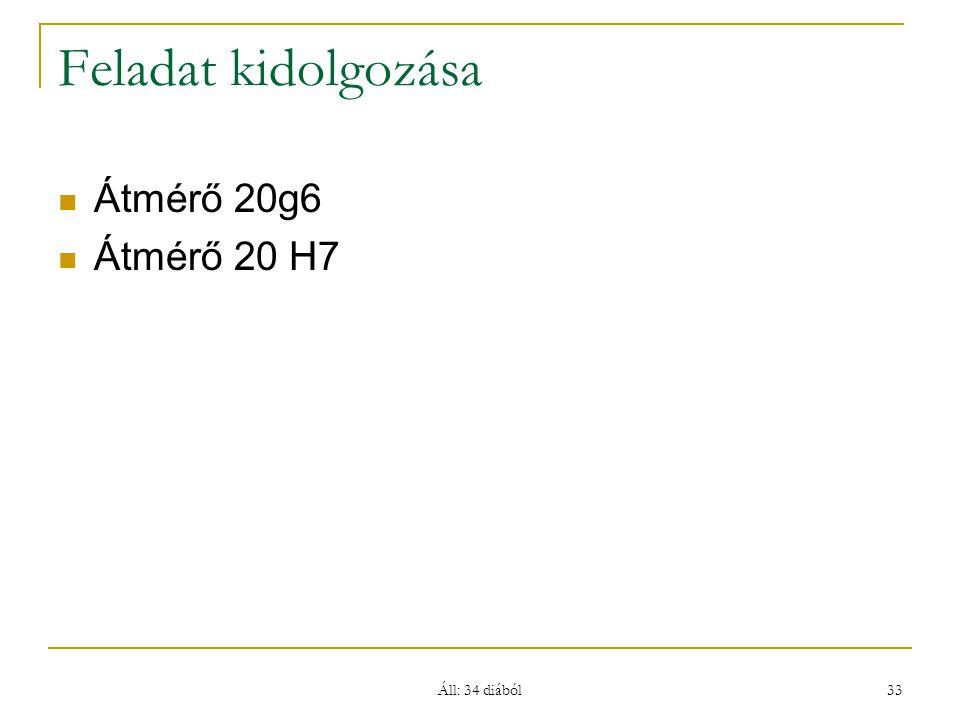 Feladat kidolgozása Átmérő 20g6 Átmérő 20 H7 Áll: 34 diából
