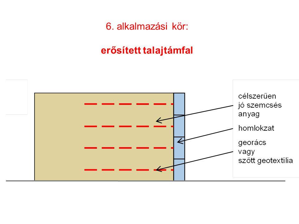 6. alkalmazási kör: erősített talajtámfal