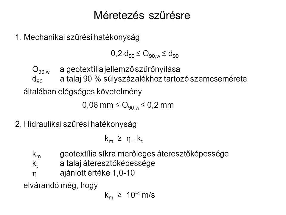 Méretezés szűrésre Mechanikai szűrési hatékonyság