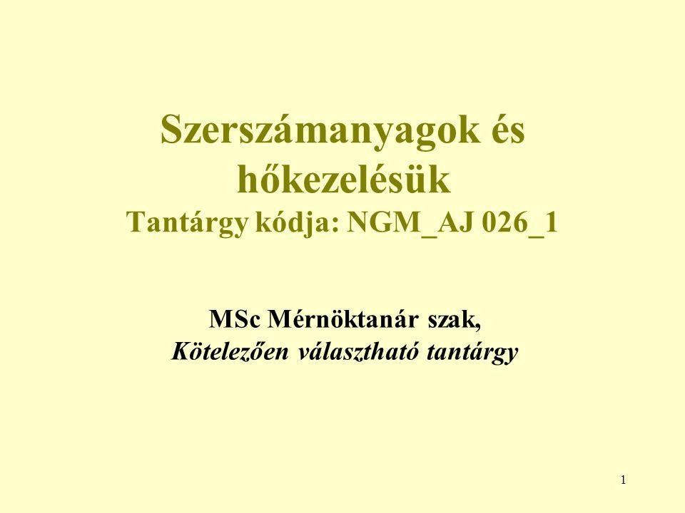 Szerszámanyagok és hőkezelésük Tantárgy kódja: NGM_AJ 026_1