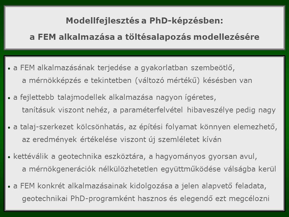 Modellfejlesztés a PhD-képzésben: a FEM alkalmazása a töltésalapozás modellezésére