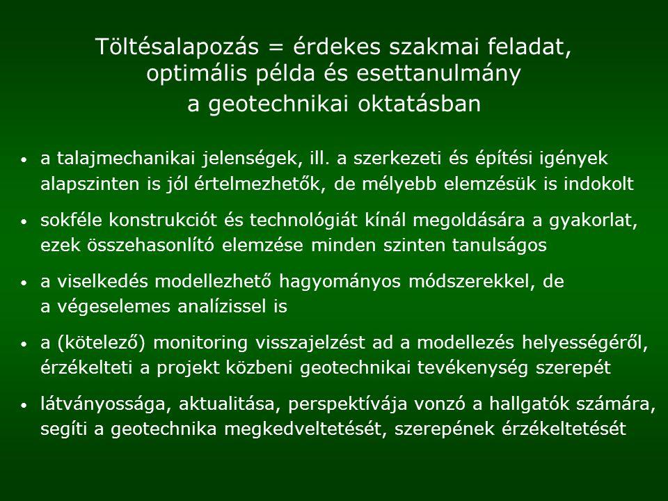 Töltésalapozás = érdekes szakmai feladat, optimális példa és esettanulmány a geotechnikai oktatásban