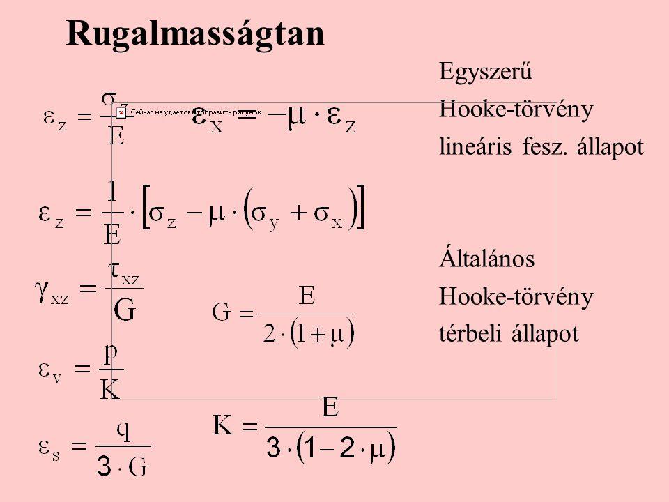 Rugalmasságtan Egyszerű Hooke-törvény lineáris fesz. állapot Általános