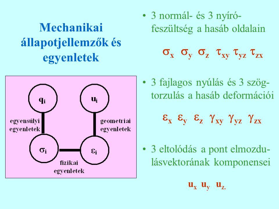 Mechanikai állapotjellemzők és egyenletek