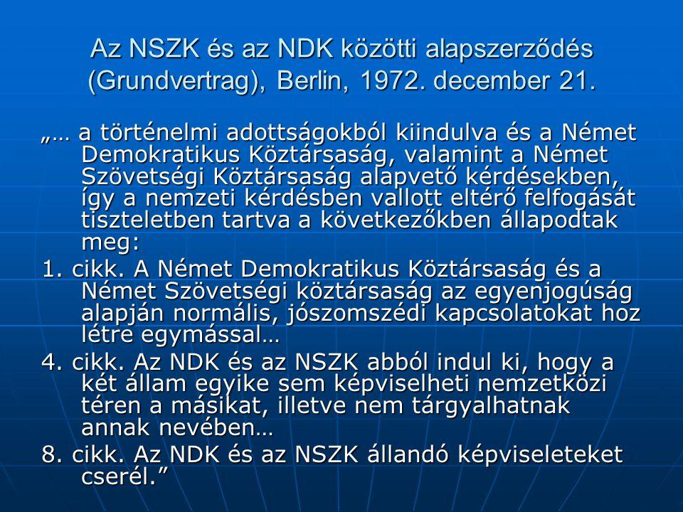 Az NSZK és az NDK közötti alapszerződés (Grundvertrag), Berlin, 1972