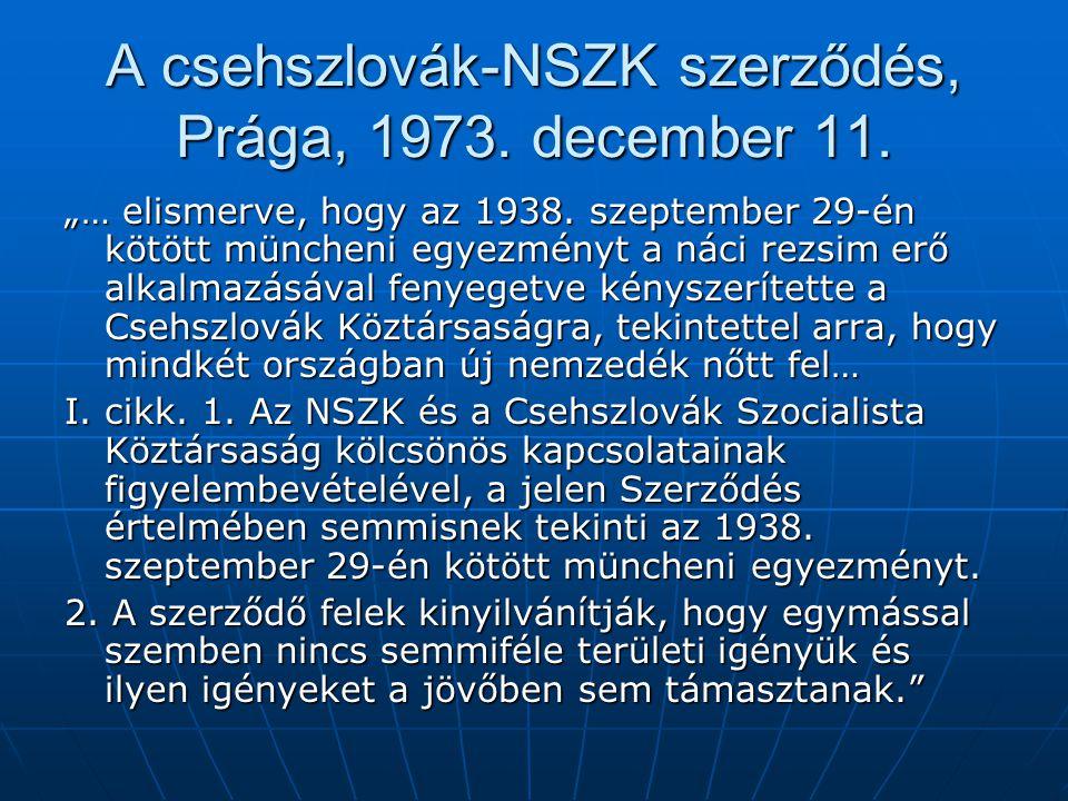 A csehszlovák-NSZK szerződés, Prága, 1973. december 11.