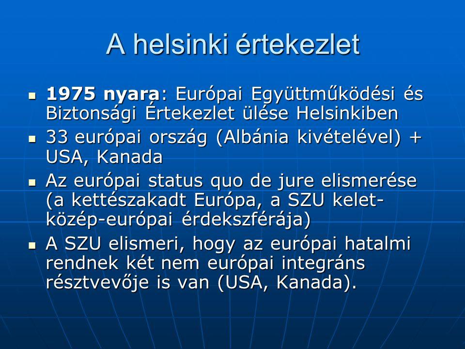 A helsinki értekezlet 1975 nyara: Európai Együttműködési és Biztonsági Értekezlet ülése Helsinkiben.