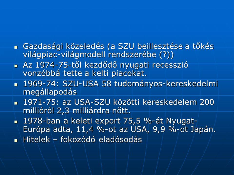 Gazdasági közeledés (a SZU beillesztése a tőkés világpiac-világmodell rendszerébe ( ))