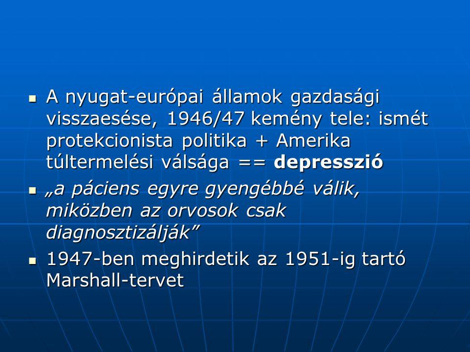 A nyugat-európai államok gazdasági visszaesése, 1946/47 kemény tele: ismét protekcionista politika + Amerika túltermelési válsága == depresszió