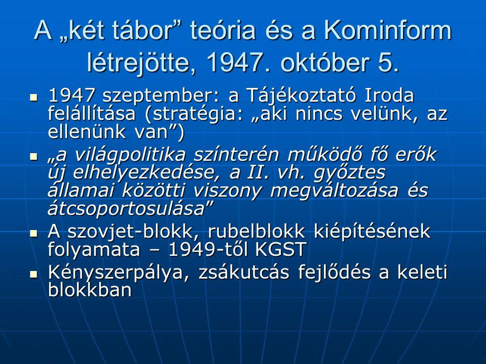 """A """"két tábor teória és a Kominform létrejötte, 1947. október 5."""