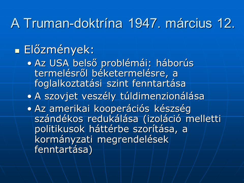 A Truman-doktrína 1947. március 12.