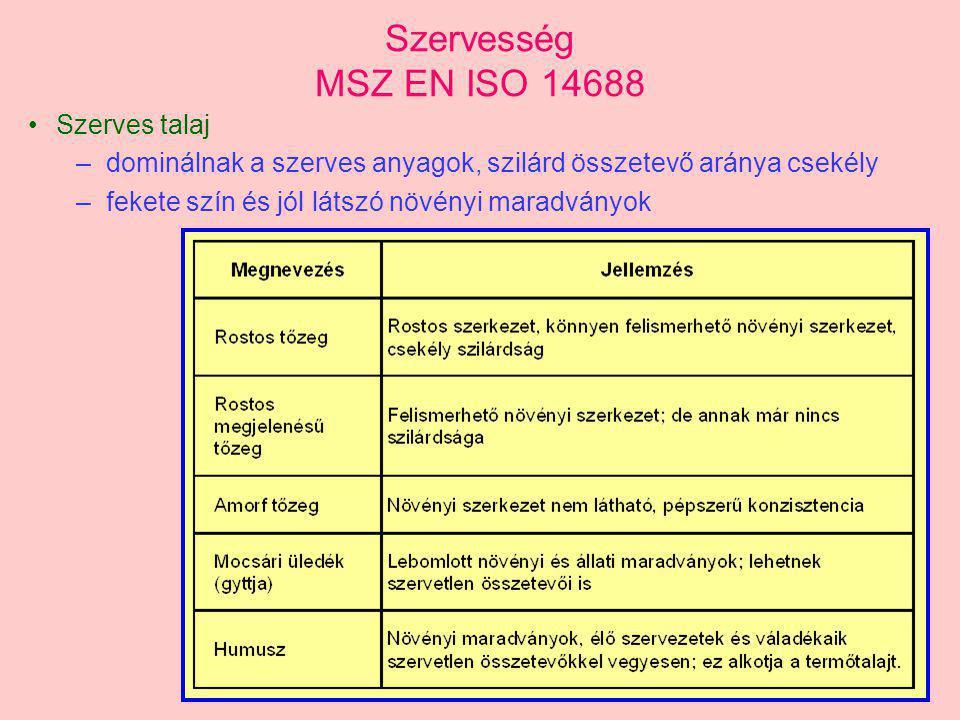Szervesség MSZ EN ISO 14688 Szerves talaj