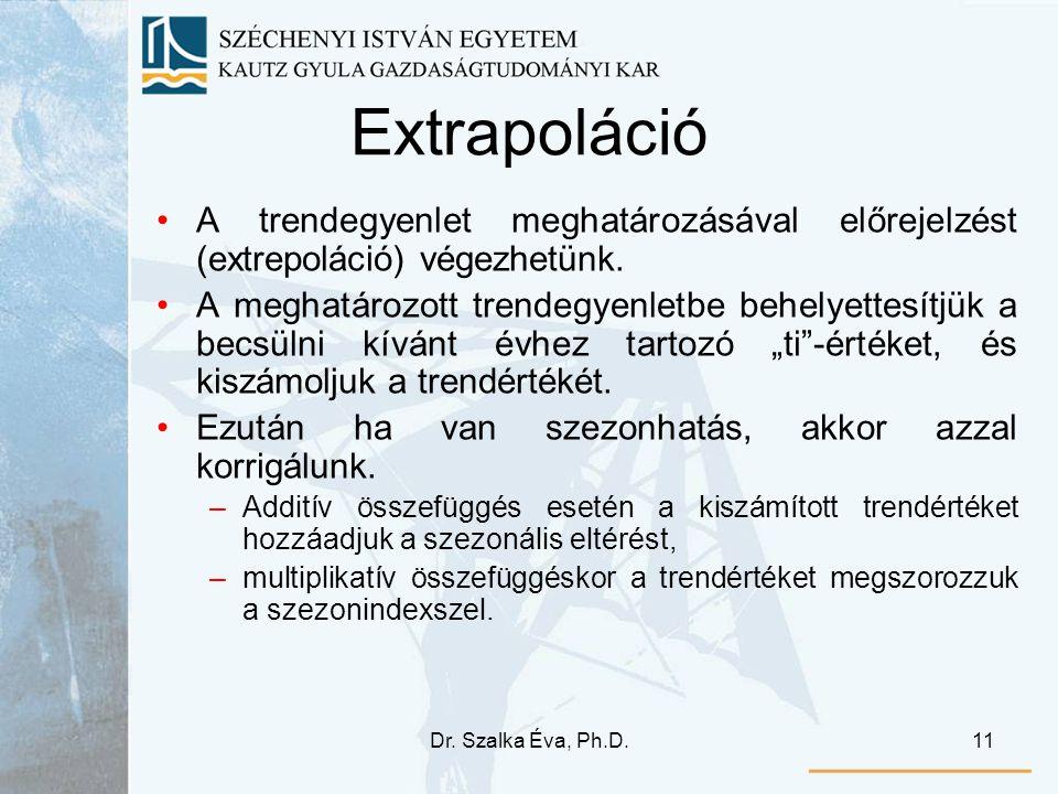 Extrapoláció A trendegyenlet meghatározásával előrejelzést (extrepoláció) végezhetünk.
