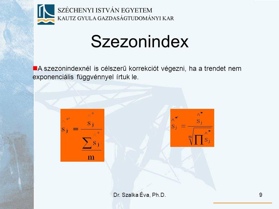 Szezonindex A szezonindexnél is célszerű korrekciót végezni, ha a trendet nem exponenciális függvénnyel írtuk le.