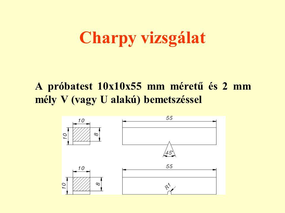 Charpy vizsgálat A próbatest 10x10x55 mm méretű és 2 mm mély V (vagy U alakú) bemetszéssel