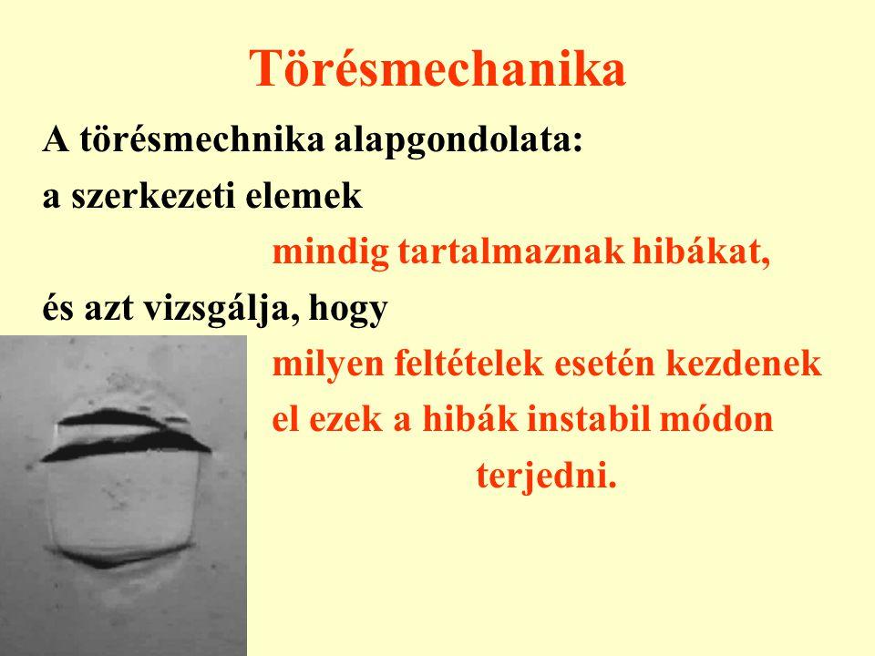 Törésmechanika A törésmechnika alapgondolata: a szerkezeti elemek