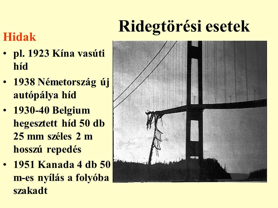 Ridegtörési esetek Hidak pl. 1923 Kína vasúti híd