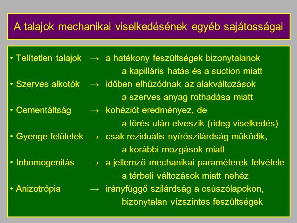 A talajok mechanikai viselkedésének egyéb sajátosságai
