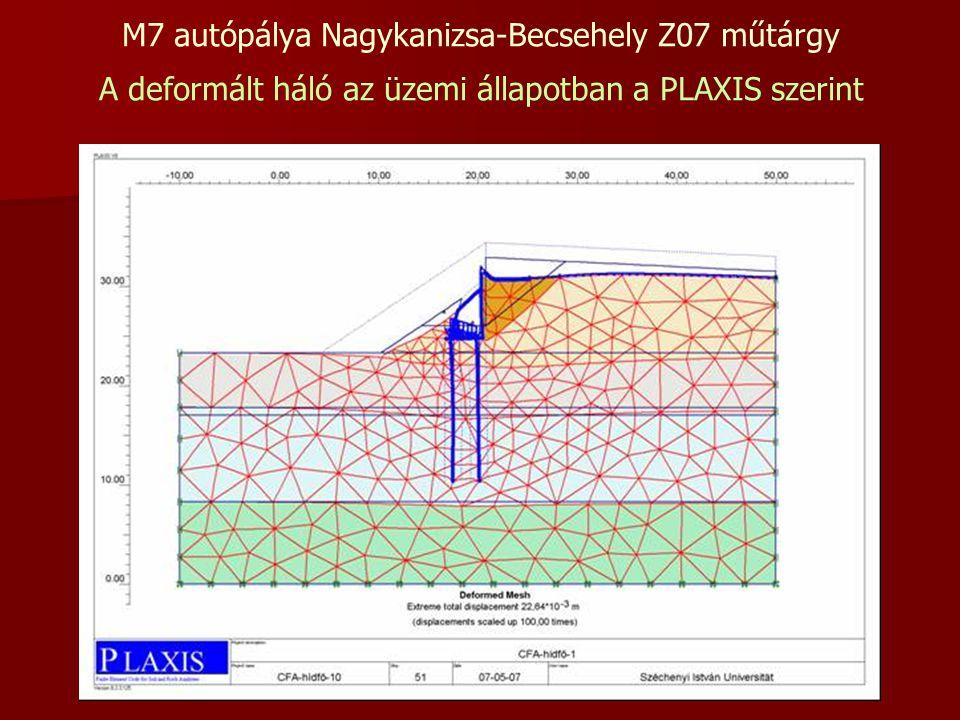M7 autópálya Nagykanizsa-Becsehely Z07 műtárgy A deformált háló az üzemi állapotban a PLAXIS szerint