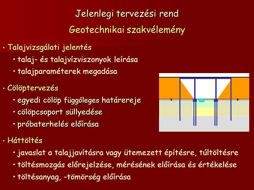 Jelenlegi tervezési rend Geotechnikai szakvélemény