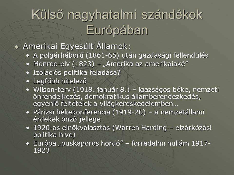 Külső nagyhatalmi szándékok Európában