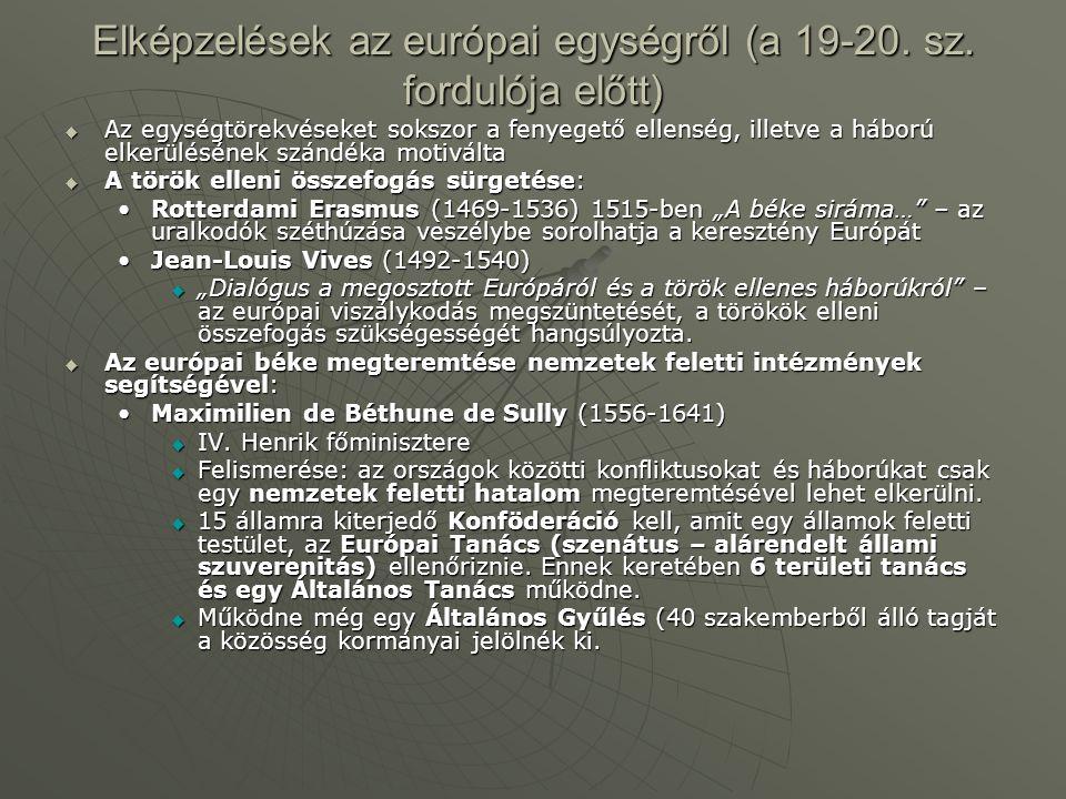 Elképzelések az európai egységről (a 19-20. sz. fordulója előtt)