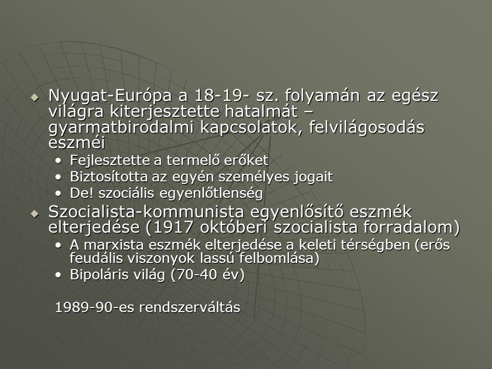 Nyugat-Európa a 18-19- sz. folyamán az egész világra kiterjesztette hatalmát – gyarmatbirodalmi kapcsolatok, felvilágosodás eszméi