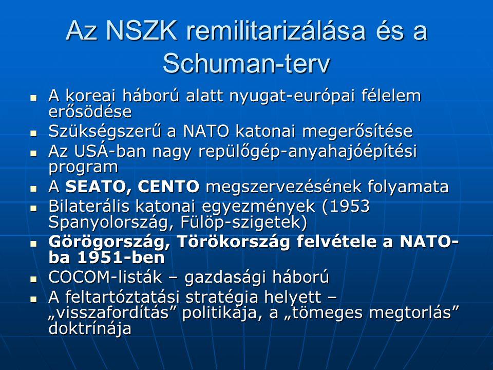Az NSZK remilitarizálása és a Schuman-terv