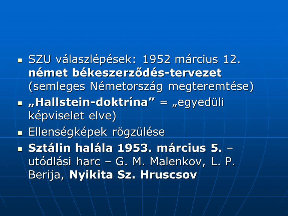SZU válaszlépések: 1952 március 12