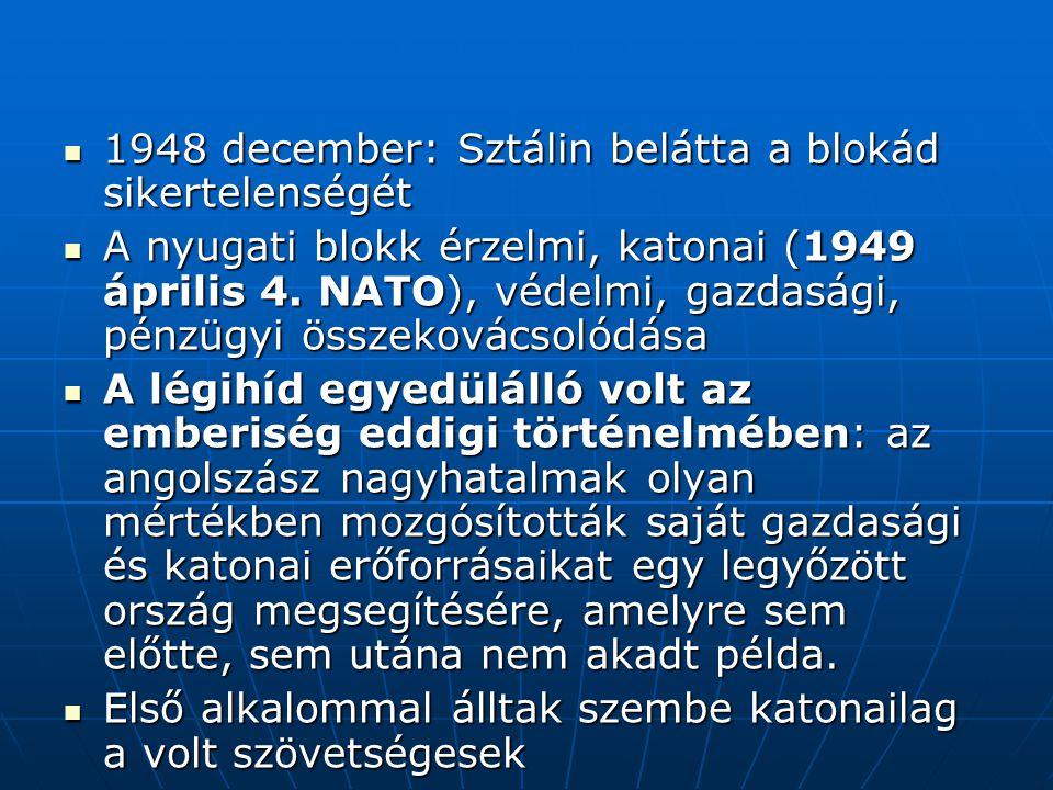 1948 december: Sztálin belátta a blokád sikertelenségét