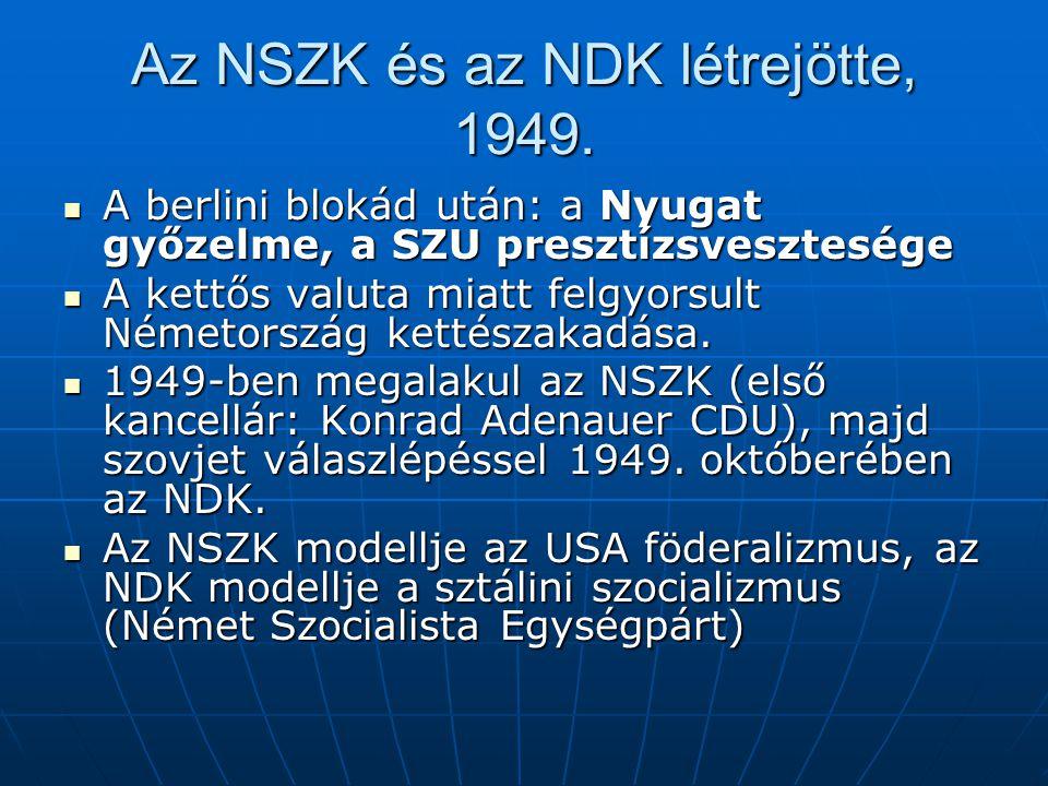 Az NSZK és az NDK létrejötte, 1949.