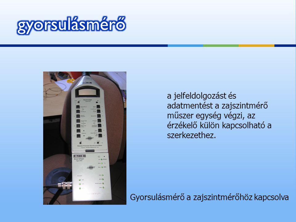 gyorsulásmérő a jelfeldolgozást és adatmentést a zajszintmérő műszer egység végzi, az érzékelő külön kapcsolható a szerkezethez.