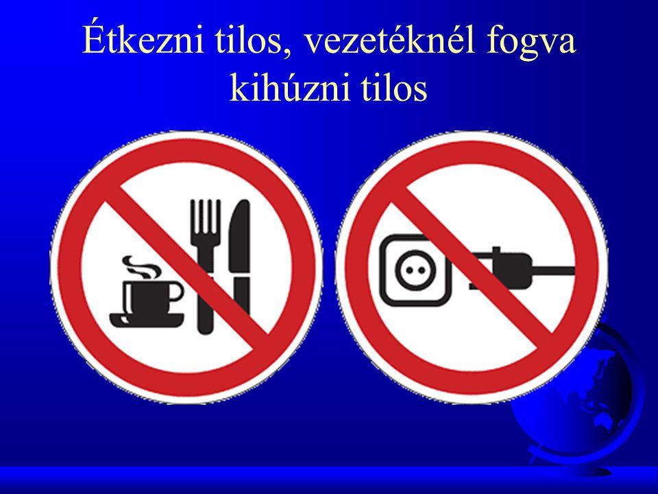 Étkezni tilos, vezetéknél fogva kihúzni tilos